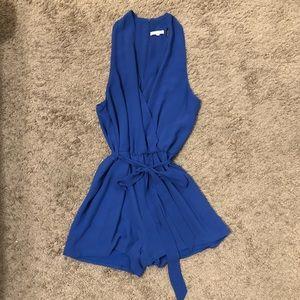Blue Tie-Waist Vestique Romper